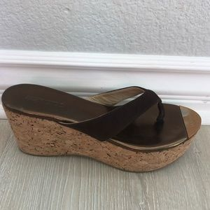 JIMMY CHOO Platform Chocolate Suede Sandals Sz 37
